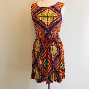 MinlPink Boho Batik Pattern Mini Dress